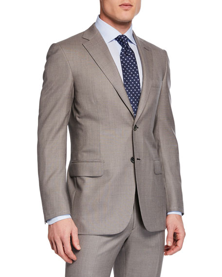 Brioni Men's Taupe Windowpane Two-Piece Suit In Beige