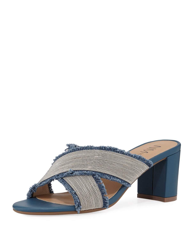 Neiman Marcus Mayday Beaded Denim Slide Sandals In Denim ...