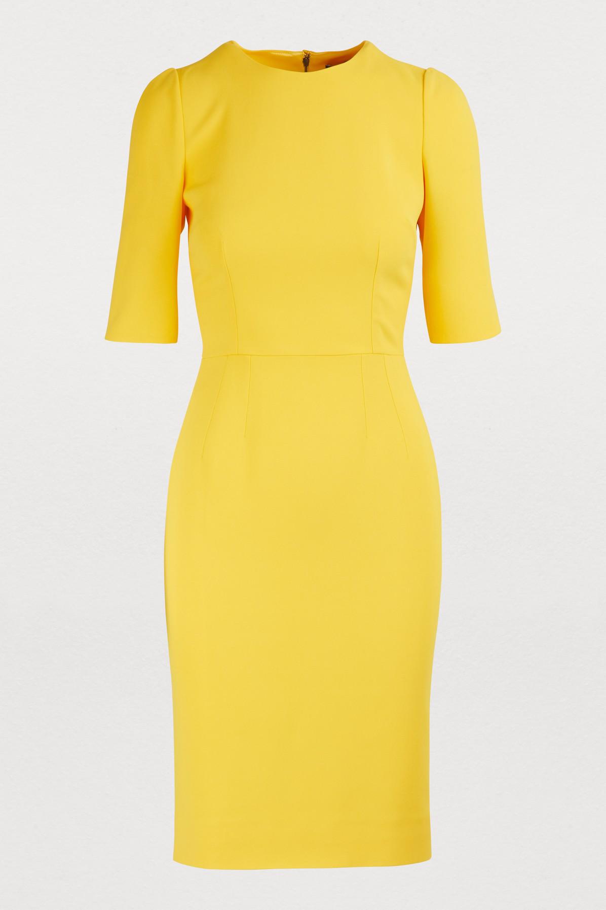 Dolce & Gabbana Stretch Midi Dress In Yellow