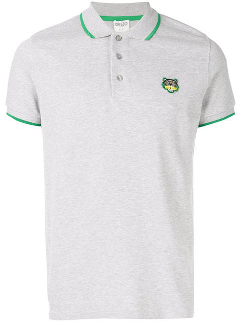 Kenzo Embroidered Tiger Polo Shirt In Grey