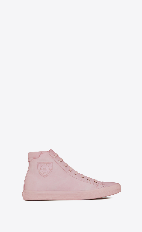 Saint Laurent Bedford Emblem High Top Sneaker In Pastel Pink