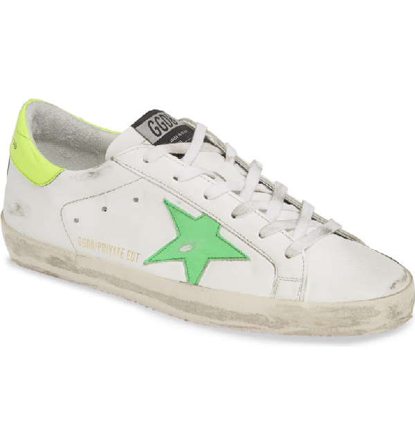 Golden Goose Superstar Low Top Sneaker In White/ Green/ Yellow