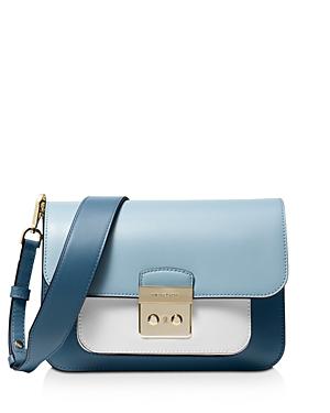 129563ef80b7 Michael Michael Kors Michael Kors Sloan Editor Large Leather Shoulder Bag  In Blue Multi Silver