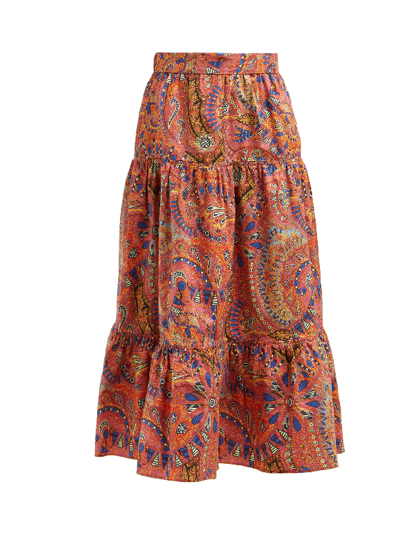 Etro Paisley-print Mid-rise Tiered Midi Skirt In Pink