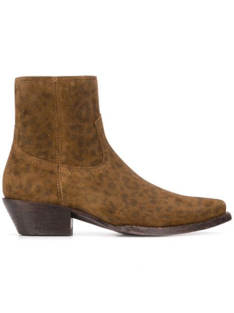 Saint Laurent Lukas Western Leopard-Print Suede Boots In Brown