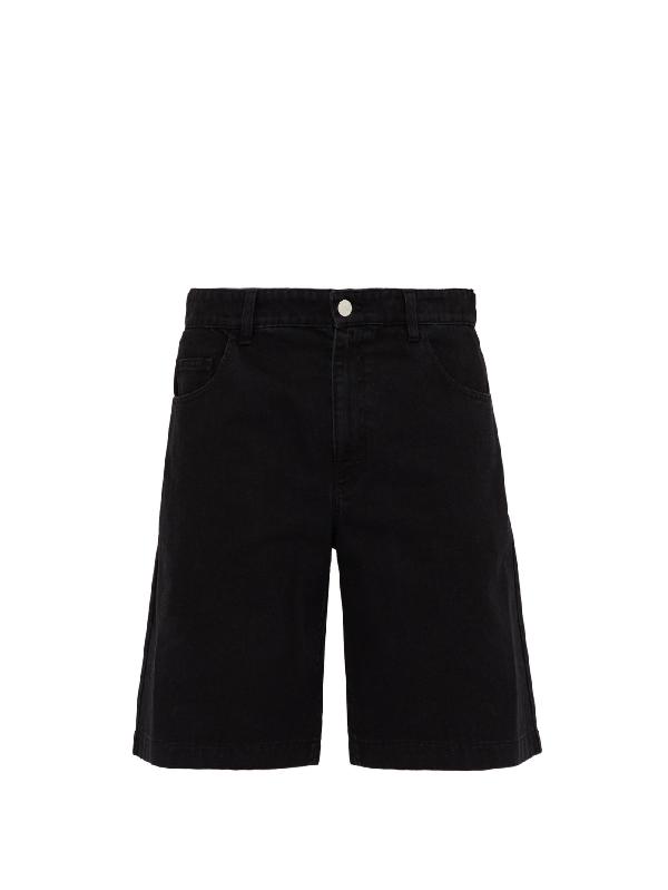 Raf Simons Classic-fit Chrome-patch Denim Shorts In Black
