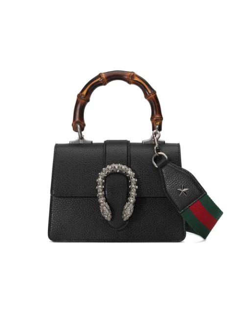 de577c77a988 Gucci Dionysus Mini Leather Bamboo-Handle Bag, Black | ModeSens