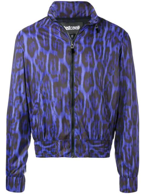Just Cavalli Leopard Print Bomber Jacket In Purple