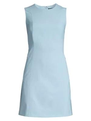 Theory Helaina Wool-Blend Shift Dress In Blue Stream