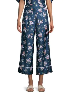 Rebecca Taylor Emilia Floral-Print Wide-Leg Pants In Teal Combo