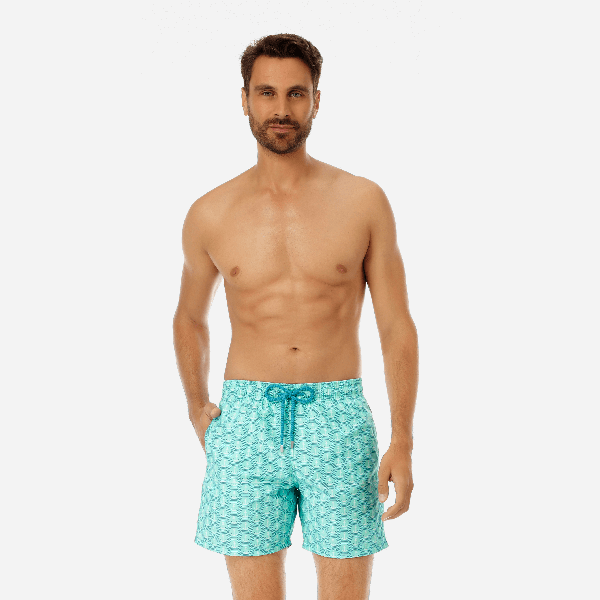 Vilebrequin Men Swimwear - Men Swimwear Ancre De Chine - Swimming Trunk - Moorea In Green