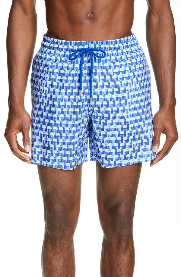 Vilebrequin Men Swimwear - Men Ultra-Light And Packable Swimtrunks Istanbul - Swimwear - Mahina In Blue