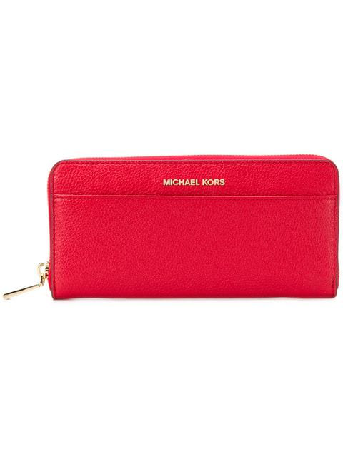 Michael Michael Kors Logo Plaque Continental Wallet In Red