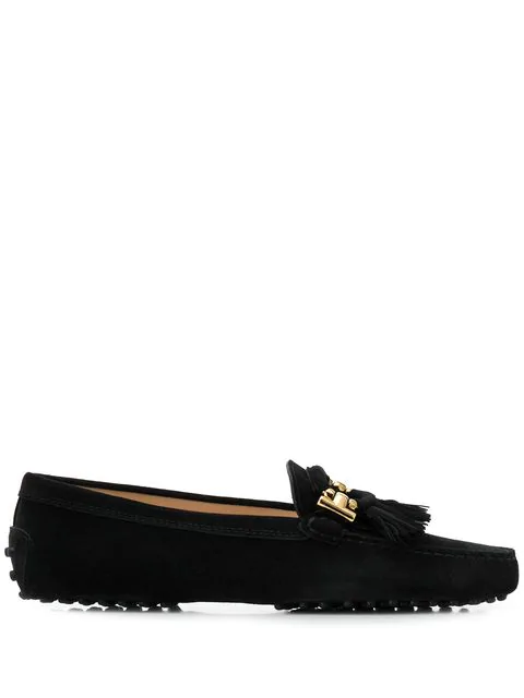 Tod's 10mm Gommino Leather Loafers W/ Tassels In B999 Black