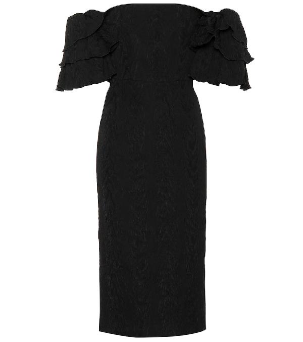 Alexa Chung Off The Shoulder Midi Dress W/ Ruffles In Black