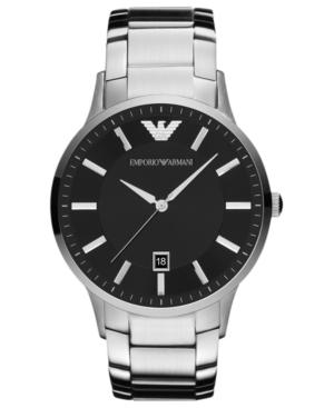 Emporio Armani Watch, Men's Stainless Steel Bracelet 43mm Ar2457 In Silver/ Black
