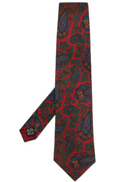 Burberry Paisley Print Tie In Red