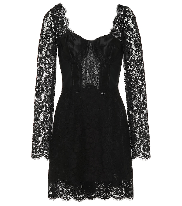 Dolce & Gabbana Cotton-blend Lace Minidress In Black