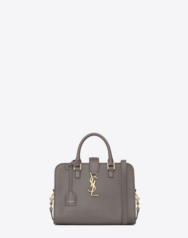 Saint Laurent Cabas Ysl Baby In Smooth Leather In Fog