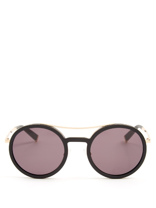 Max Mara Oblo Round-frame Sunglasses In Black