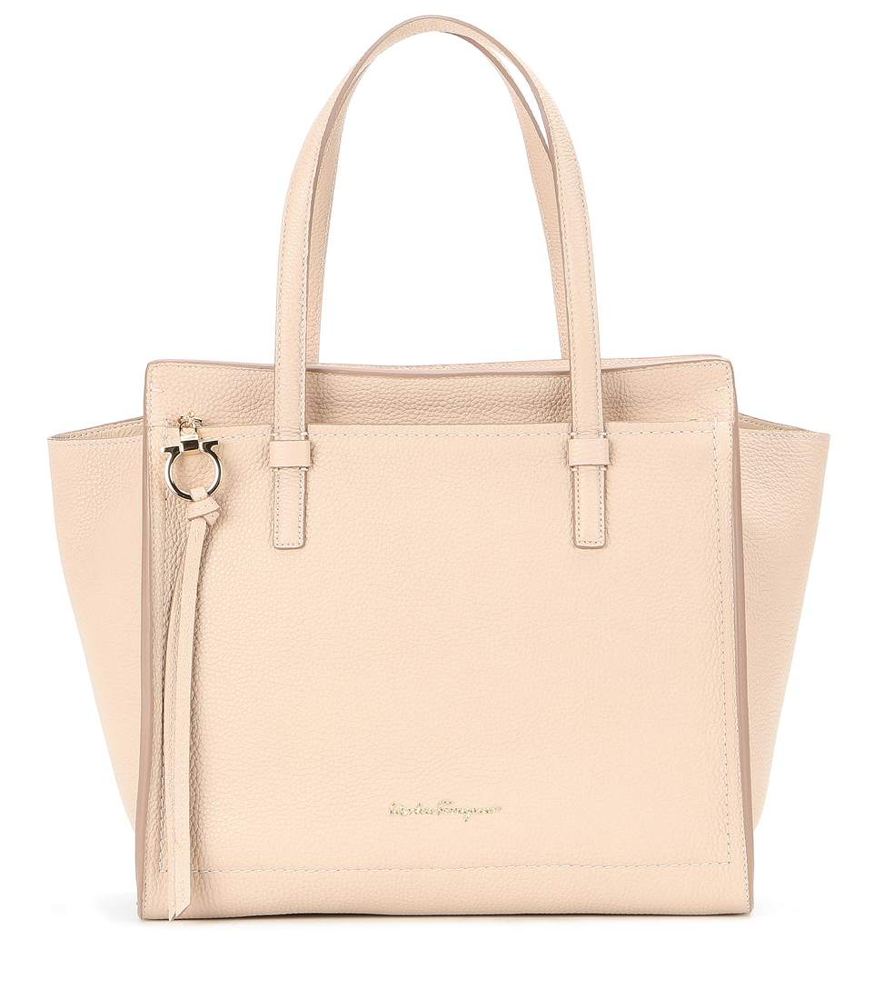 fddca14fad08 Salvatore Ferragamo Amy Large Pebbled-Leather Tote In Neutrals ...
