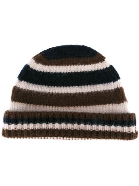 Marni Striped Wool Knit Beanie Hat, Brown/beige/navy