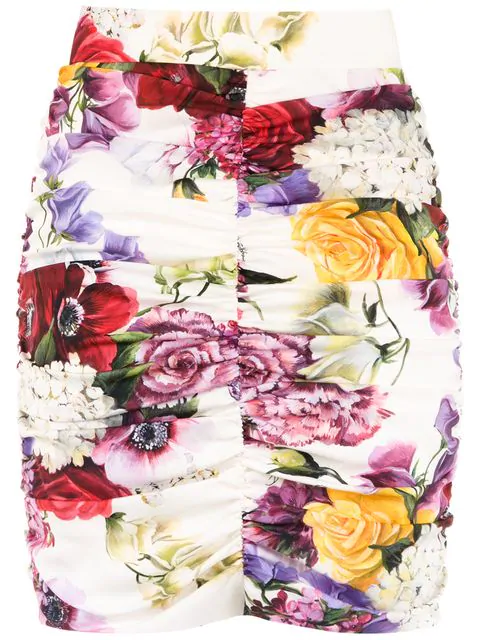Dolce & Gabbana Floral Print Mini Skirt In Multi