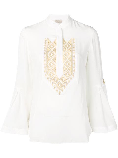 Zeus + Dione Delphi Embroidered Blouse In White