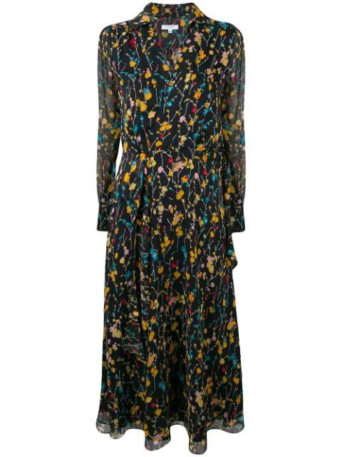 Equipment Floral Print Midi Dress In Blue