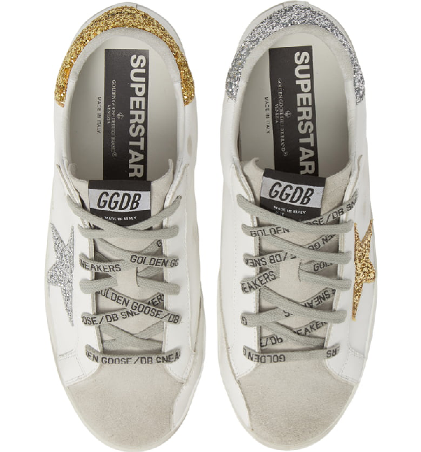 Golden Goose Superstar Low Top Sneaker In White/ Gold/ Silver