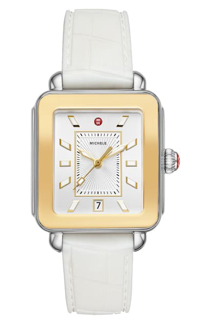 Michele Deco Sport Watch Head & Silicone Strap Watch, 34mm X 36mm In White/ Silver Sunray/ Gold