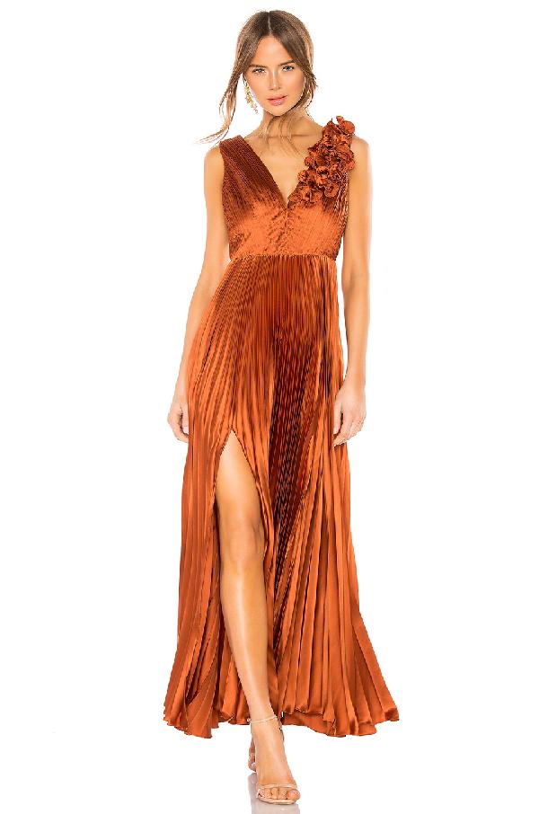 578a9fb91ab92f Amur Aviva Pleated Satin Maxi Dress In Copper   ModeSens