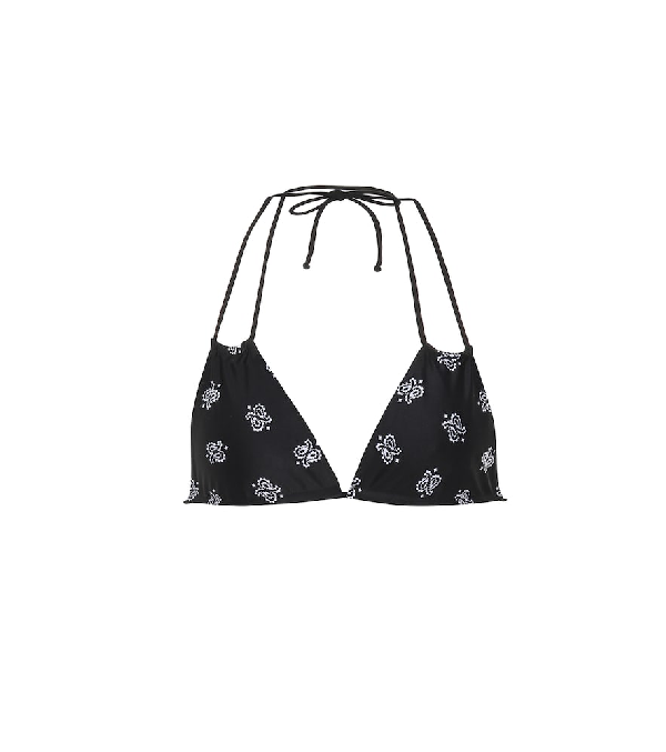 Saint Laurent Paisley-Printed Triangle Bikini Top In Black