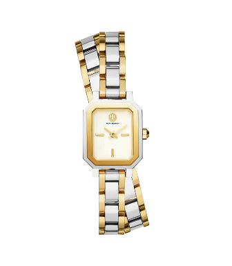 Tory Burch Women's Robinson Two-tone Stainless Steel Double-wrap Bracelet Watch In Silver/gold/ivory