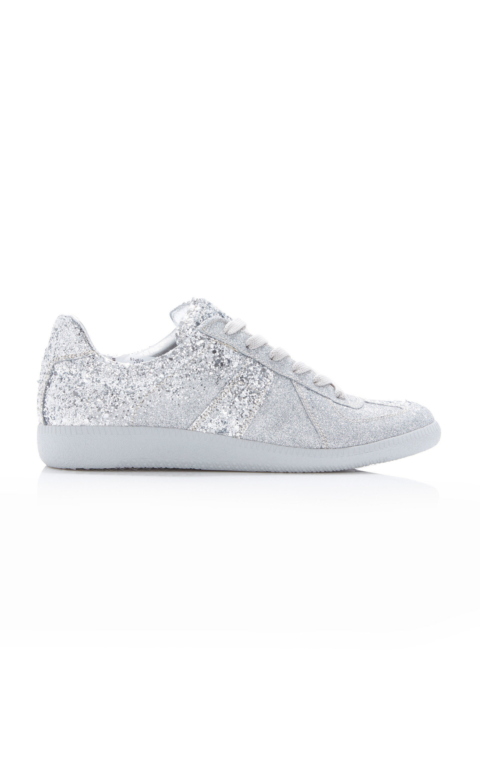 Maison Margiela Glitter-Embellished Canvas Low-Top Sneakers In Silver