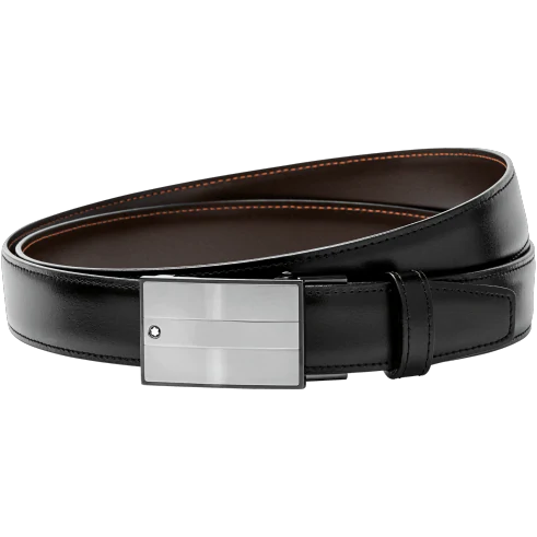 Montblanc Men's Rectangular Matte & Shiny Stainless Steel Roll Plate Buckle Leather Belt In Black,brown,grey