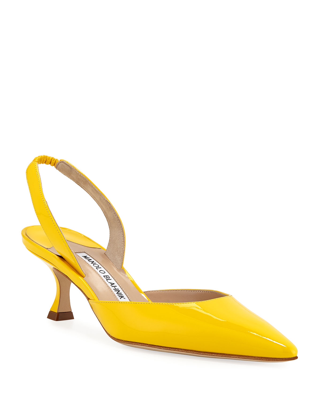 Manolo Blahnik Carolyne Low-Heel Patent Halter Pumps In Yellow