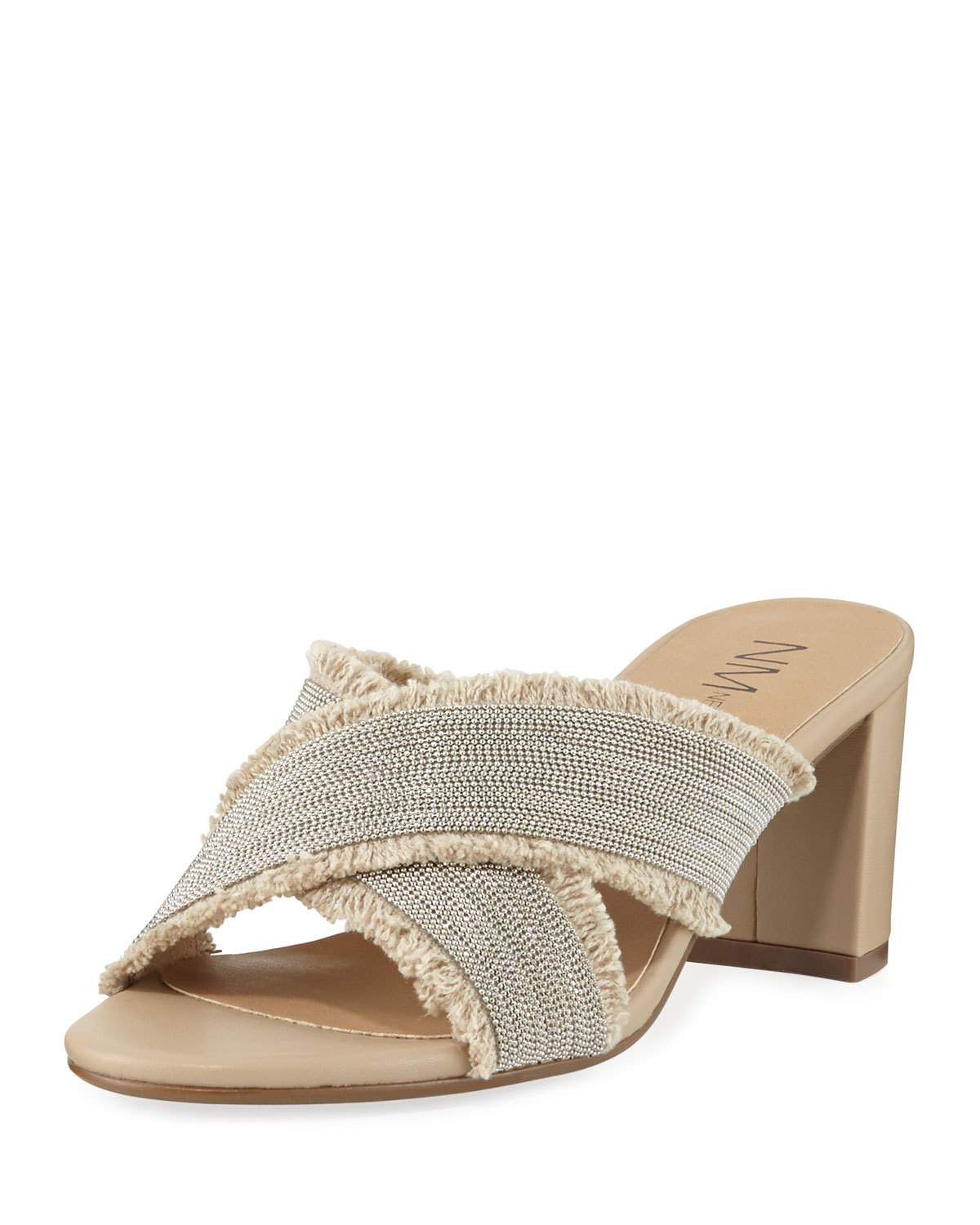 Neiman Marcus Mayday Beaded Slide Sandals In Natual Silver ...