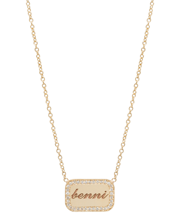 14K Custom Diamond Nameplate Pendant Necklace in Gold