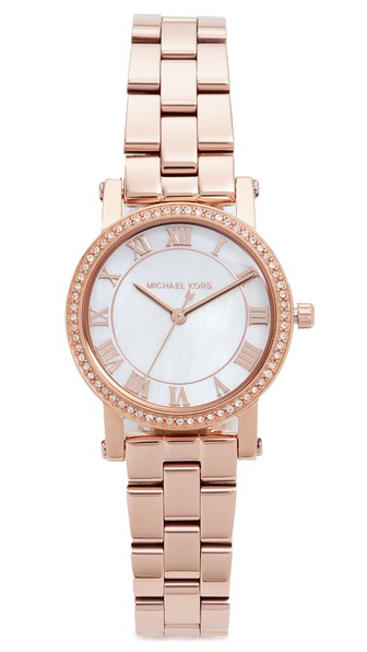 Michael Kors Petite Norie Pave Bracelet Watch, 28mm In Rose Gold
