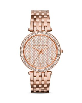 Michael Kors Darci Rose-golden Bracelet Watch With Crystals