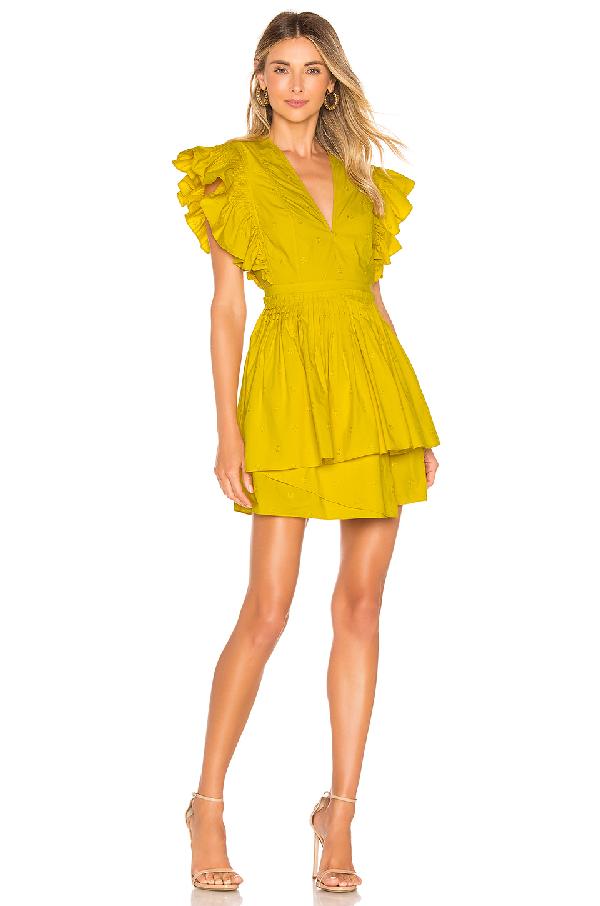 Ulla Johnson Tessa Mini Dress In Chartreuse