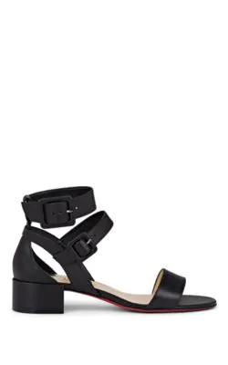 Christian Louboutin Multipot 25 Leather Red Sole Sandals In Black