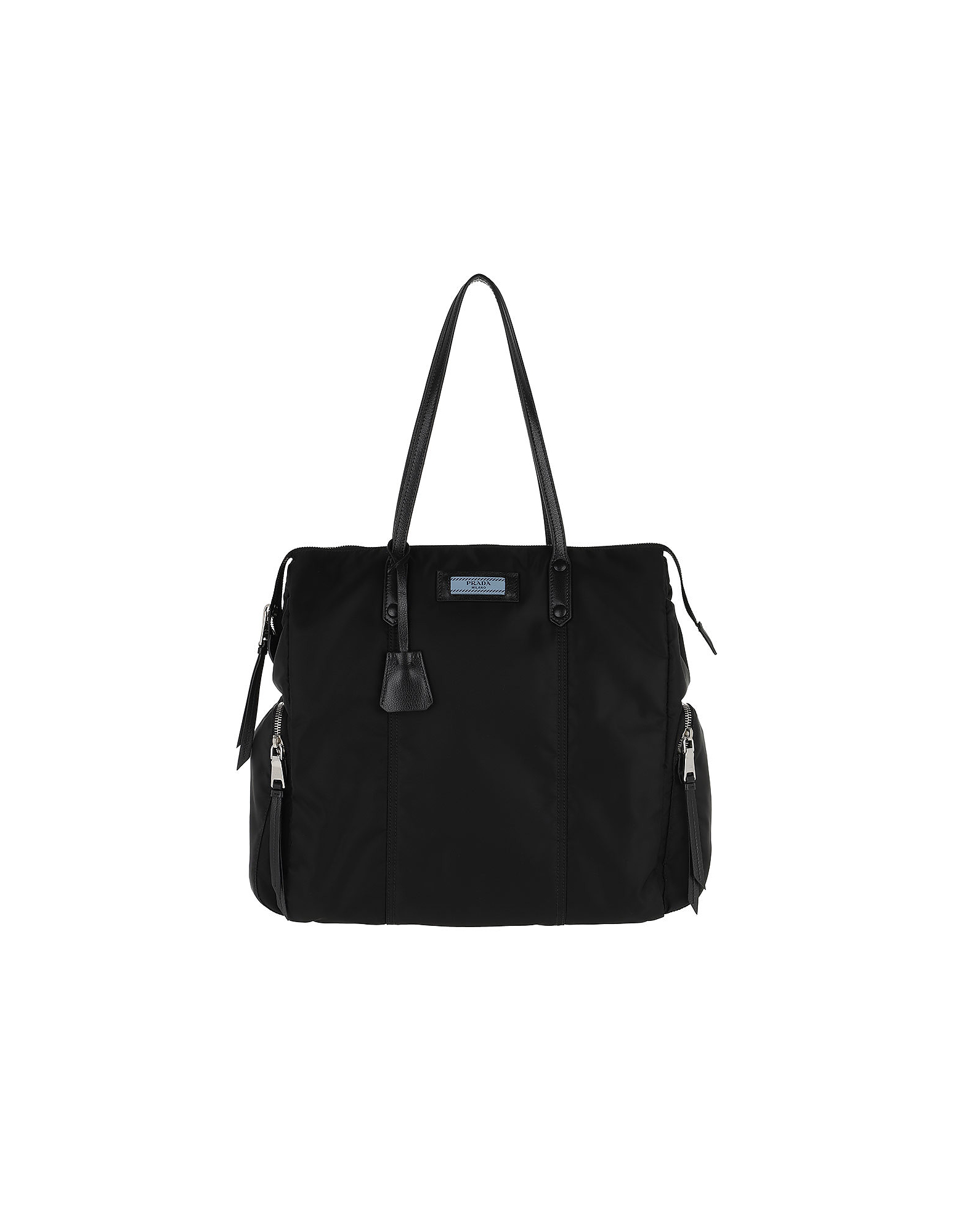 Etiquette Bag Nylon Leather Black