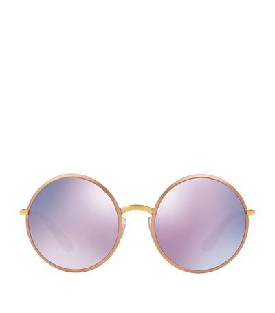 Dolce & Gabbana Round Metal Frame Sunglasses In Pink