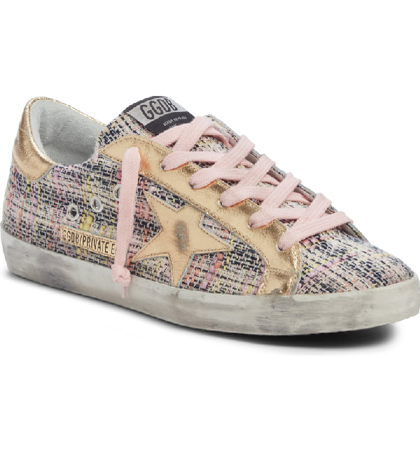 Golden Goose Superstar Low Top Sneaker In Pink Tweed/ Gold