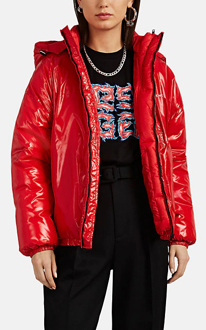 Givenchy Vinyl-Effect Tech-Taffeta Puffer Coat In Red