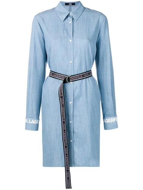 Karl Lagerfeld detached collar shirt blue