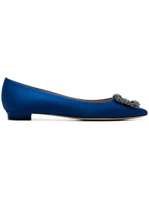 Manolo Blahnik Hangisi Flat 10 Royal Blue Satin Ballerina
