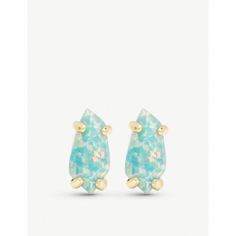 fa1b26665 Kendra Scott Jillian 14Ct Gold-Plated And Aqua Kyocera Opal Earrings ...